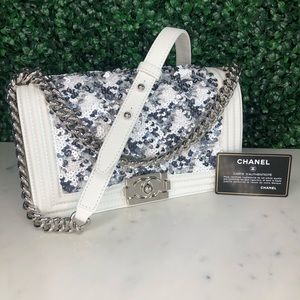 ✨$6,350✨CHANEL White Sequin BoyBag Limited Edition